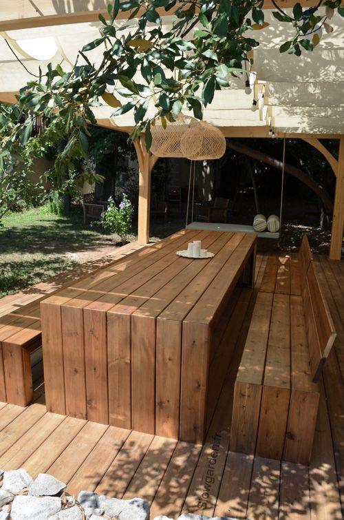 Meuble de jardin en bois - cuisine idconcept
