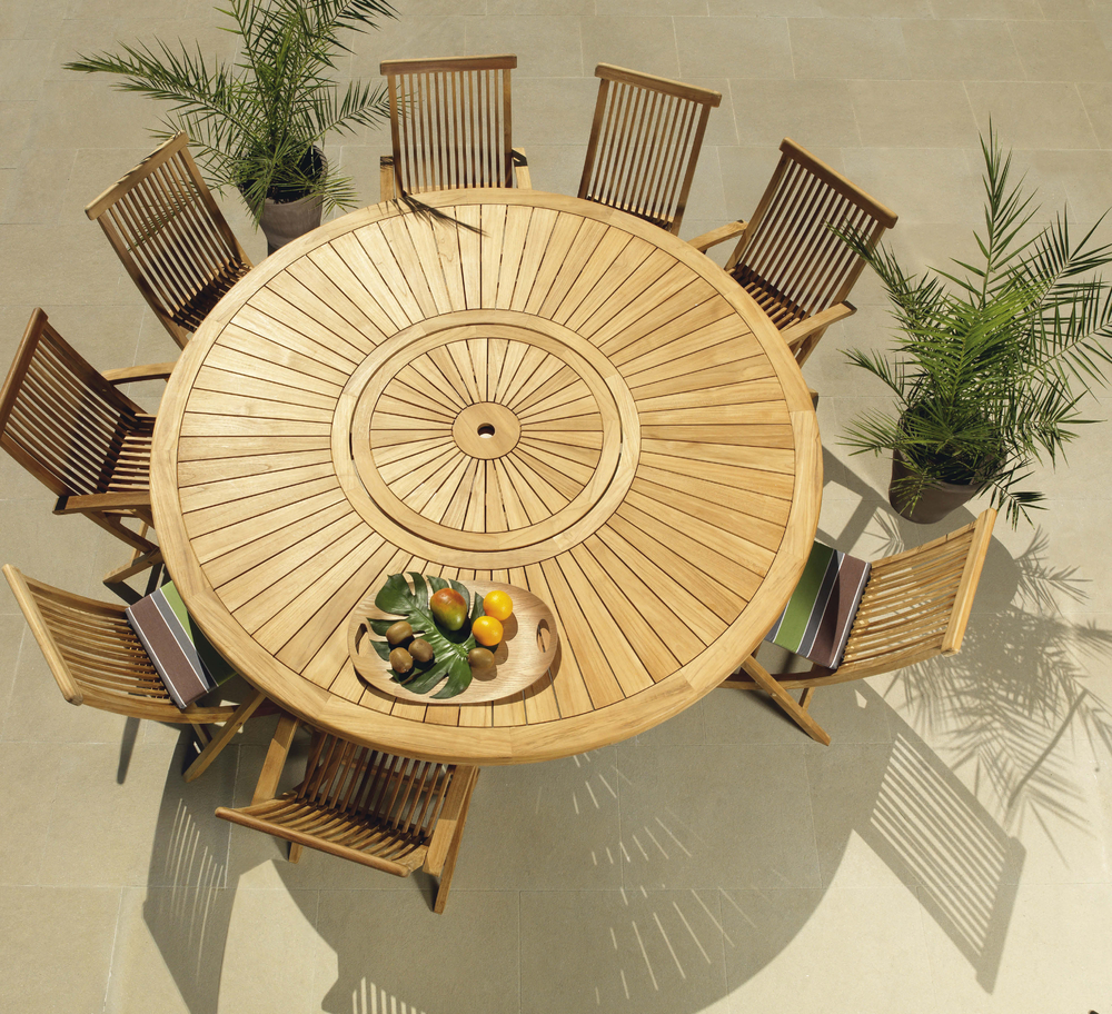 Beautiful Table De Jardin Ronde Teck Contemporary - House Design ...