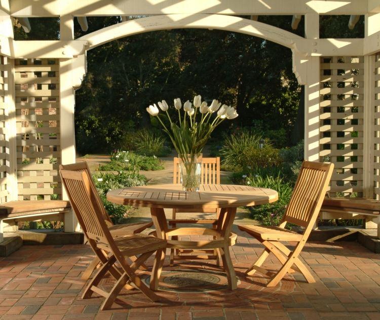 Table et chaise de jardin en teck - cuisine idconcept