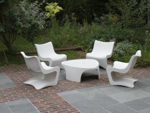 Table de jardin blanche plastique - cuisine idconcept