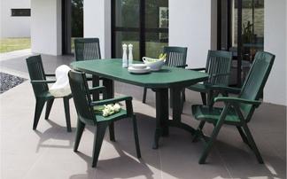 Table jardin plastique vert - cuisine idconcept