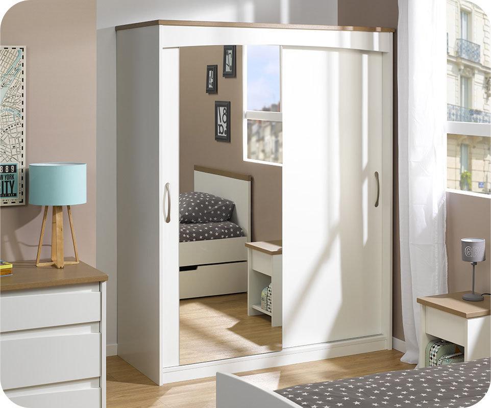 Armoire chambre miroir 2 portes - cuisine idconcept